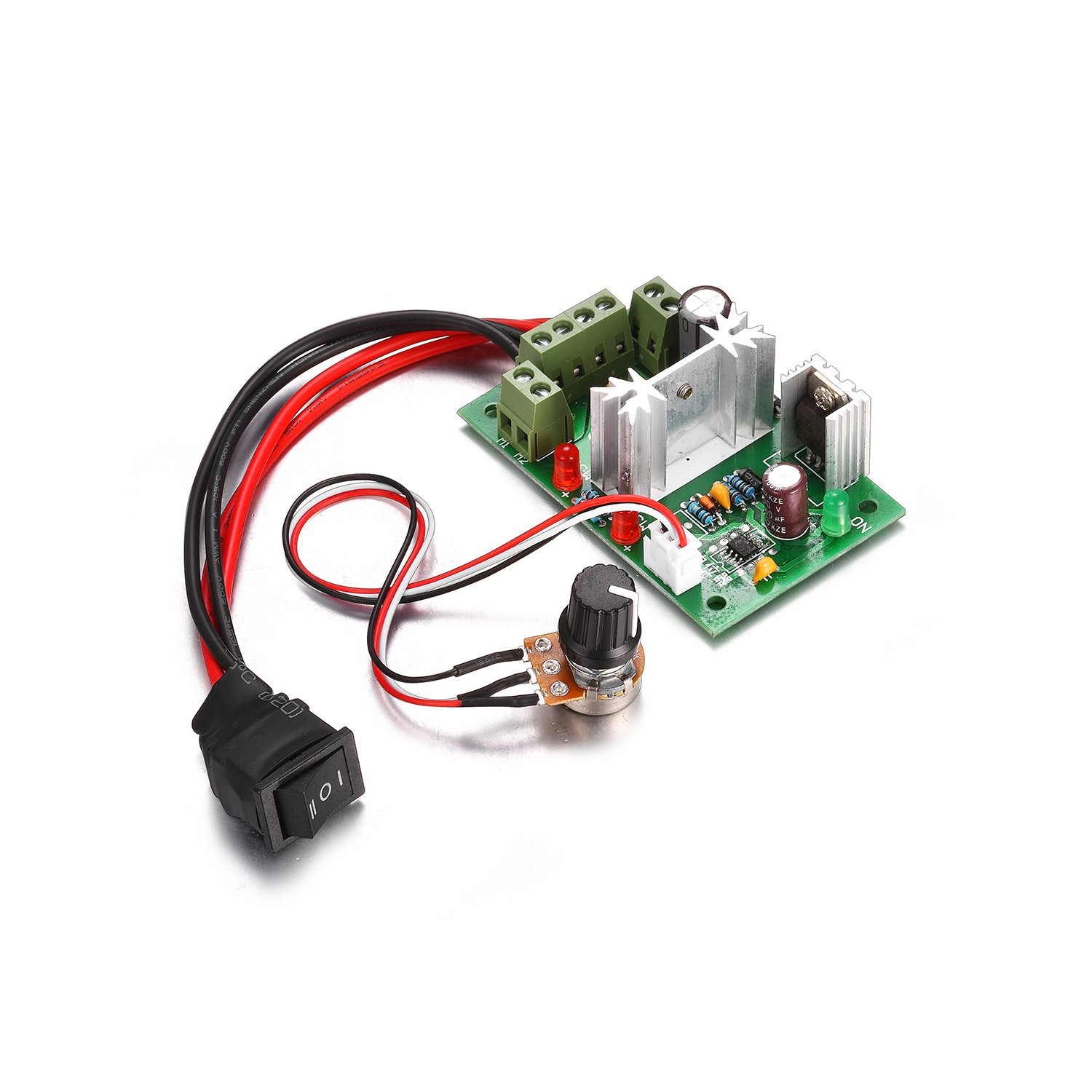 Aweking DC10-30V 12V 24V 3A Motor Speed Controller,PWM,Adjustable Driver,Max80W,5%-95% Speed Controlling,With Switch potentiometer,Reversing Switch,LED Indicator,Brush Motor