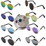 8 Pcs Pet Sunglasses Retro Funny Round Metal Prince Glasses Set for Small Cats Dogs Cosplay Toys Photos Props Accessories