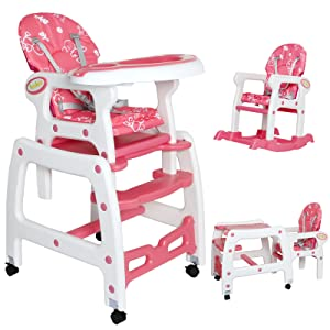 Seelux 3 in 1 sillita trona multifuncional convertible en silla alta, mercedora y silla+mesa (rosa)