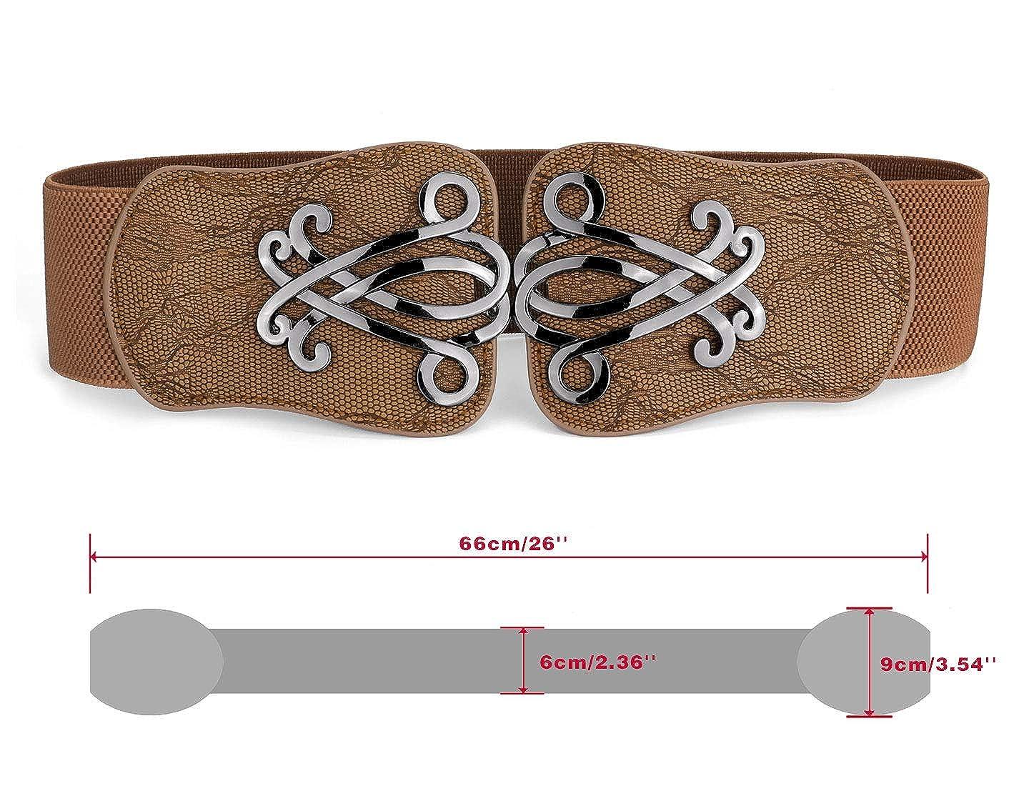 Metall Damen Gürtel Mit Gürtelschnalle Stretchy Gummibund Interlocking Retro