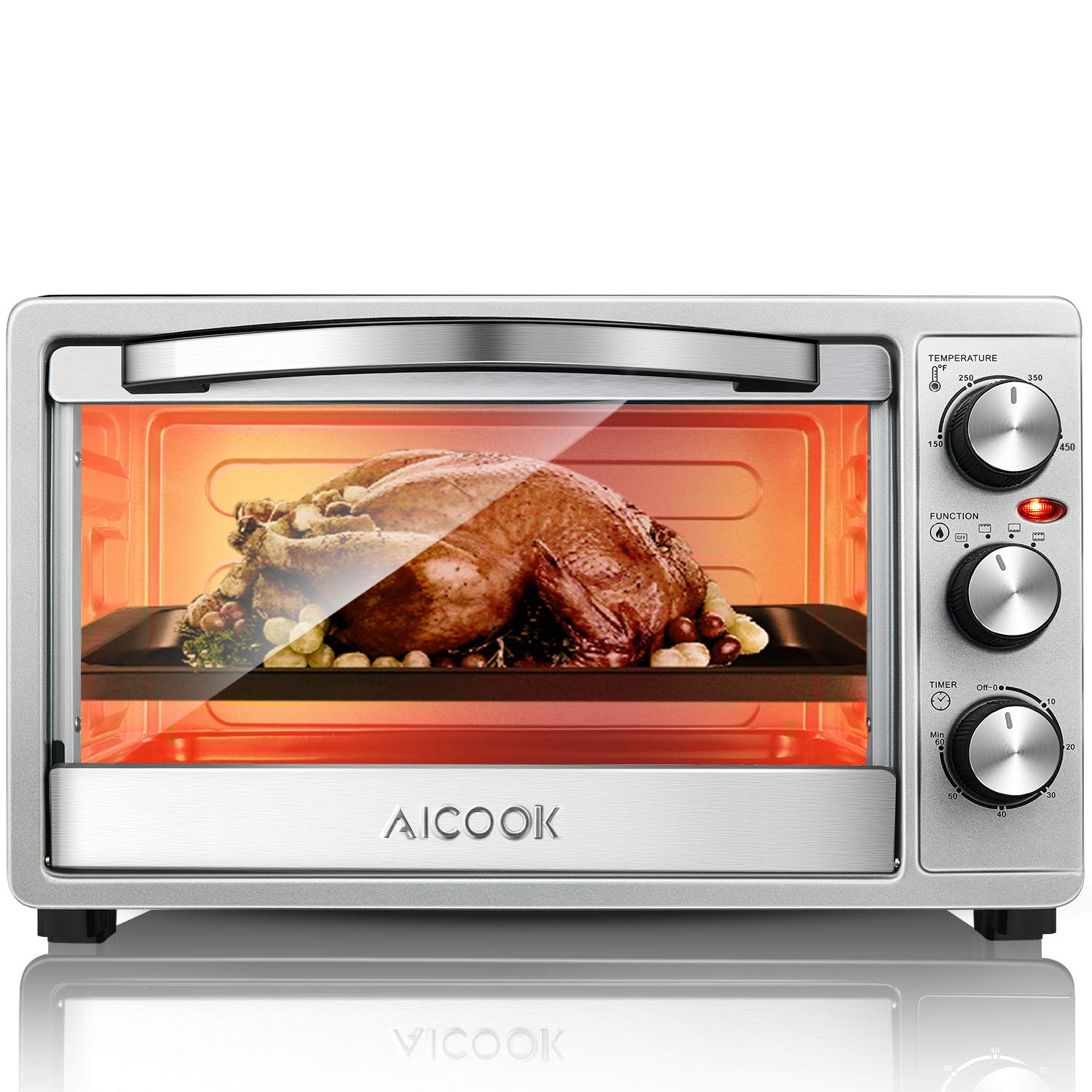 Toaster Oven, 6 Slices of Bread Large Countertop Oven SpeedBaking with Variable Temperature Control, Up and Down Adjustable Heating Element Function Classic Stainless Steel Broiler by AICOOK