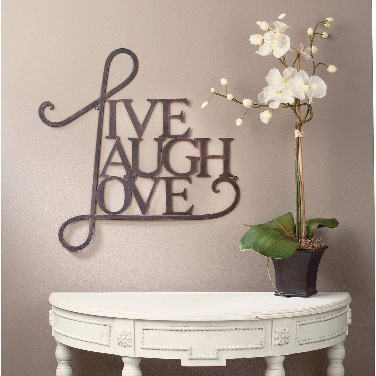 20.55 x 21.4 x 0.15 Brown Live Laugh Love Themed Metal Sign, Vintage Wall Decor,Ultra Light Inspirational Quotes Art Rustic Industrial Antique Copper Durable Cute, Metal