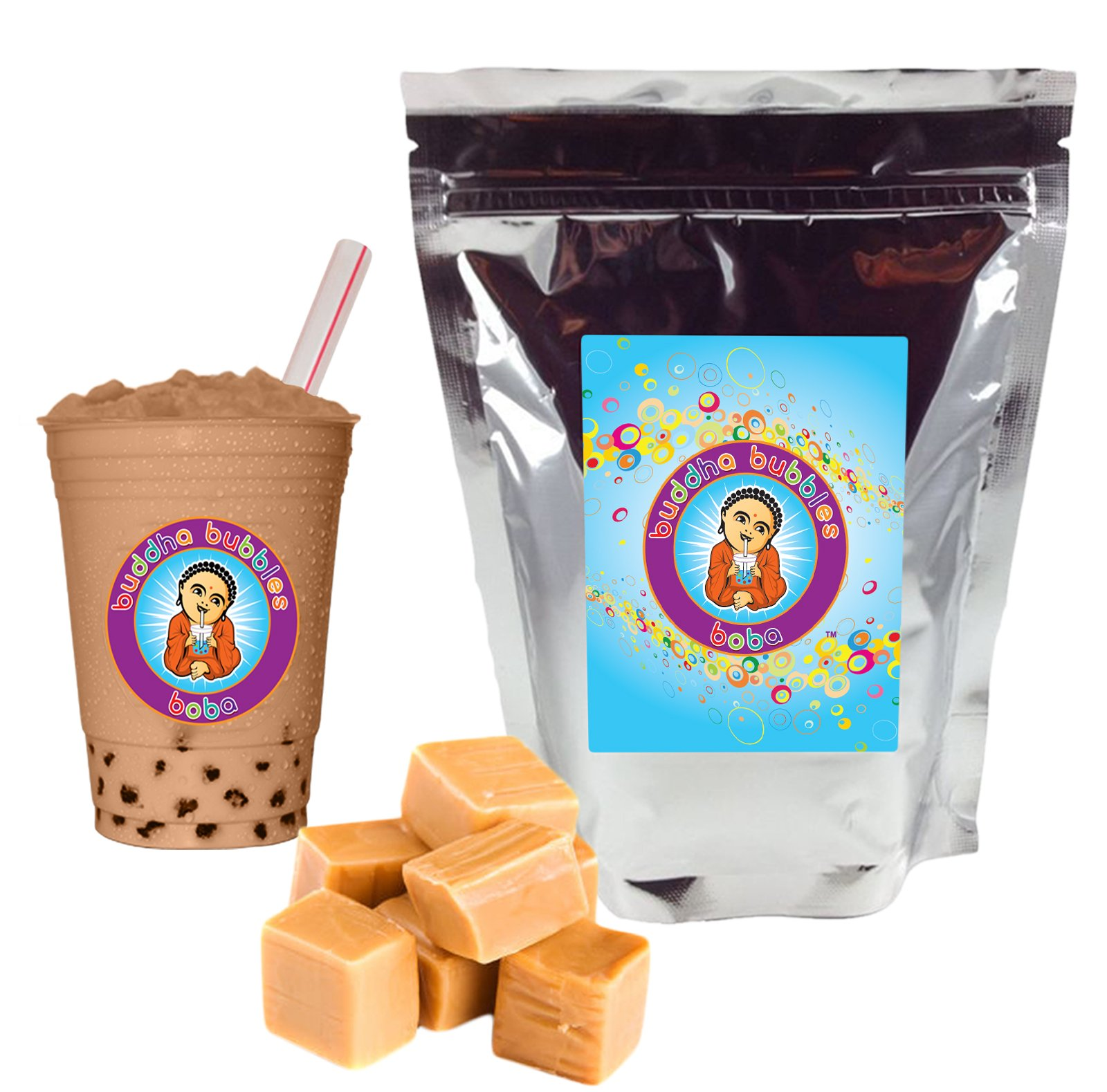 Caramel Frapp Boba / Bubble Tea Drink Mix Powder By Buddha Bubbles Boba 1 Kilo (2.2 Pounds) | (1000 Grams) by Buddha Bubbles Boba