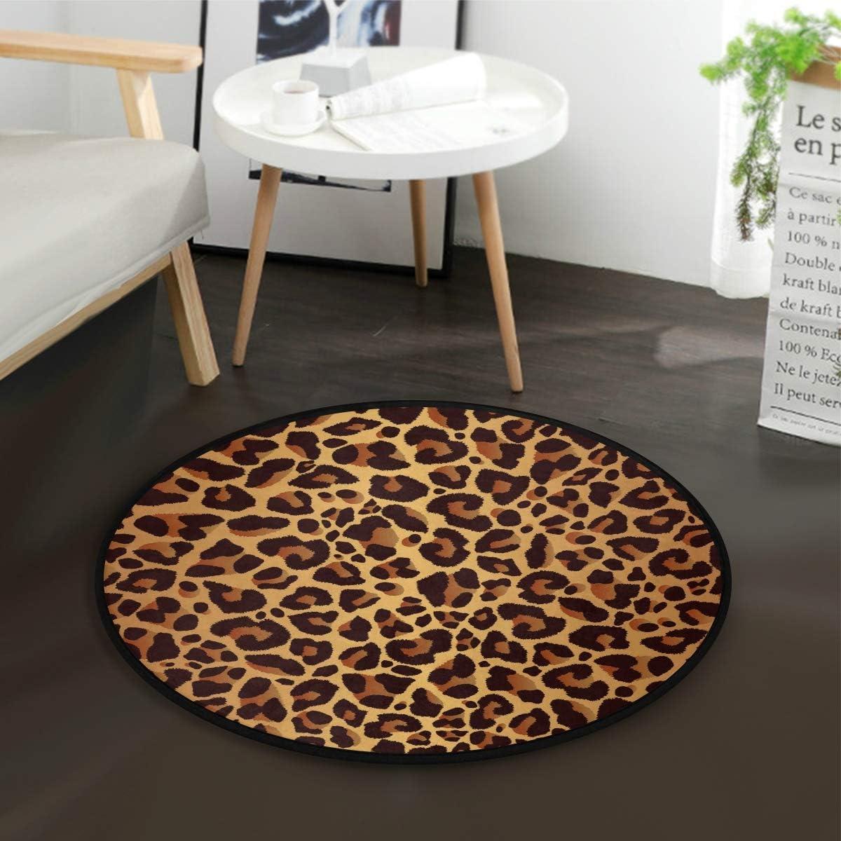 ALAZA Leopard Print Vintage Round Area Rug for Living Room Bedroom 3 Diameter 92 cm