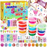 DIY Slime Kit for Girls Boys- Slime Supplies Includes Clear Crystal Slime, Glitter, Foam Beads, Fruit Slices, Fishbowl Beads, Unicorns and Mermaids Charms for Kids Slime Making