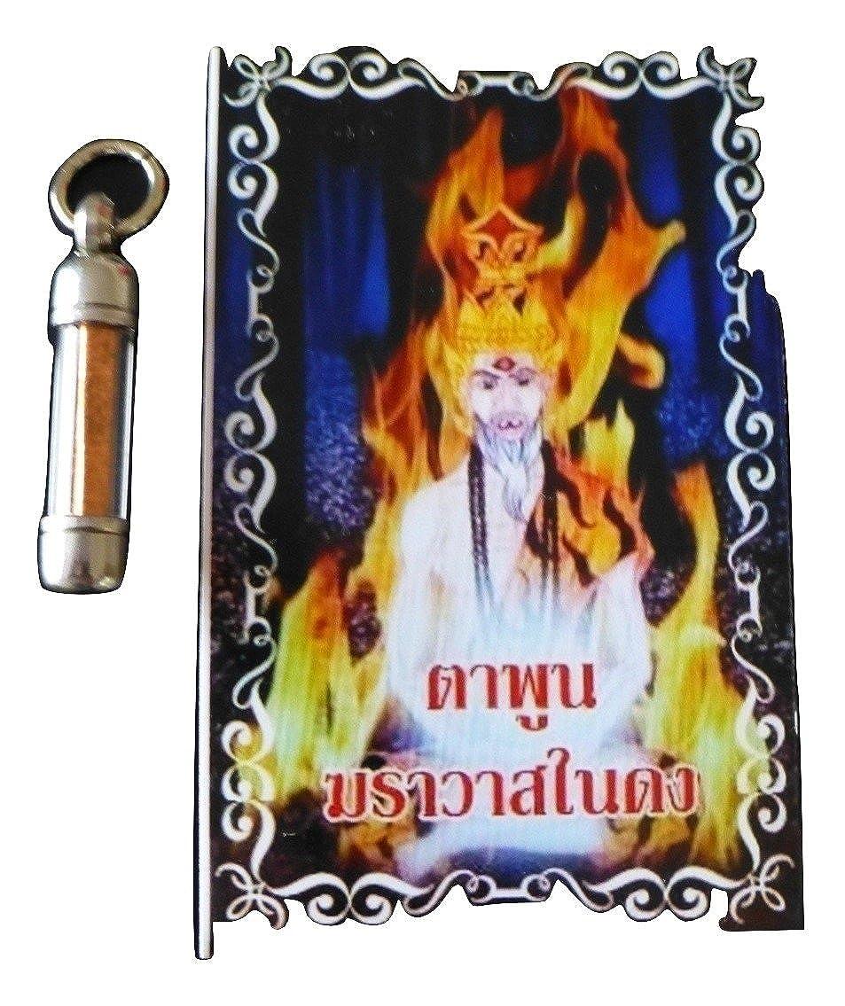 Amulet Takrut Anti Black Magic/Véritable de Thaïlande/Pendentif Porte Bonheur/Pendentif Bouddha/en Direct des Temples/Thaïlande … Thailand-temple TAPUN001