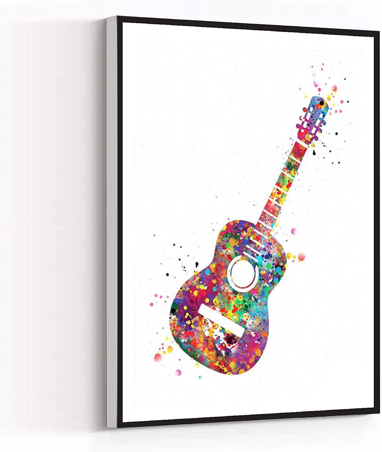 CANVAS WALL ART FOR LIVING ROOM,room decour,Acoustic Guitar Music Instrument Watercolor Print Classic Guitar Player Music Art Wall Decor Guitarist Gift Geekery Nerdy Wall Hanging,12''x18'' Framed