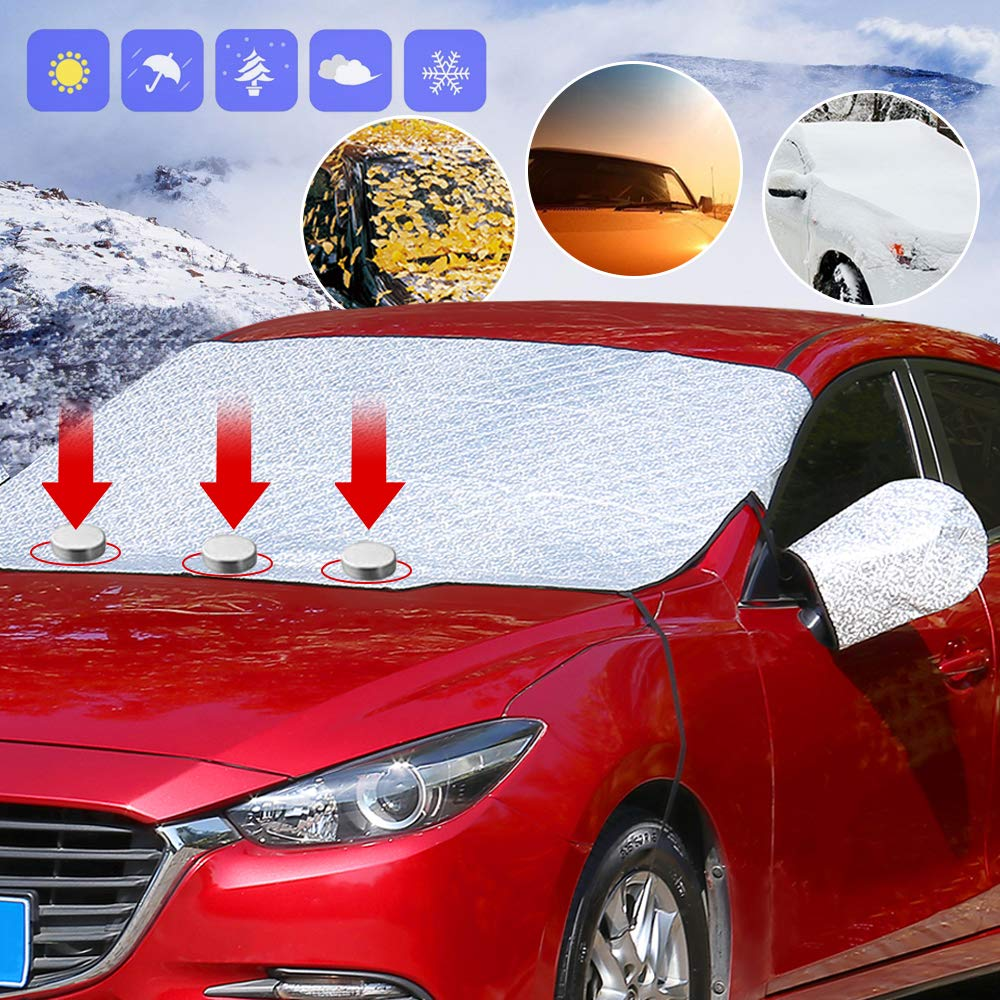 LKDEPO Multifunctional Protective Shield Windscreen Frost Covers with 5 Layers of Protection and Magnetic Edges Fits Most Cars and SUV with Mirror Covers and Windproof Rope Size 59in x 47in Car Windshield Snow Covers