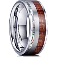 King Will Nature Mens 8mm Abalone Shell & Wood Inlay with Brushed Tungsten Carbide Wedding Ring