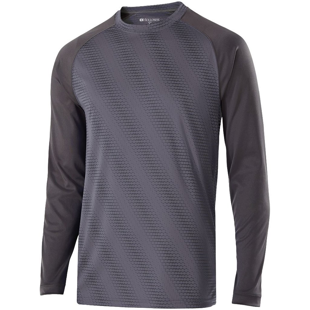 Holloway Youth Torpedo Semi-Fitted Long Sleeve Shirt (Medium, Graphite/Carbon) by Holloway