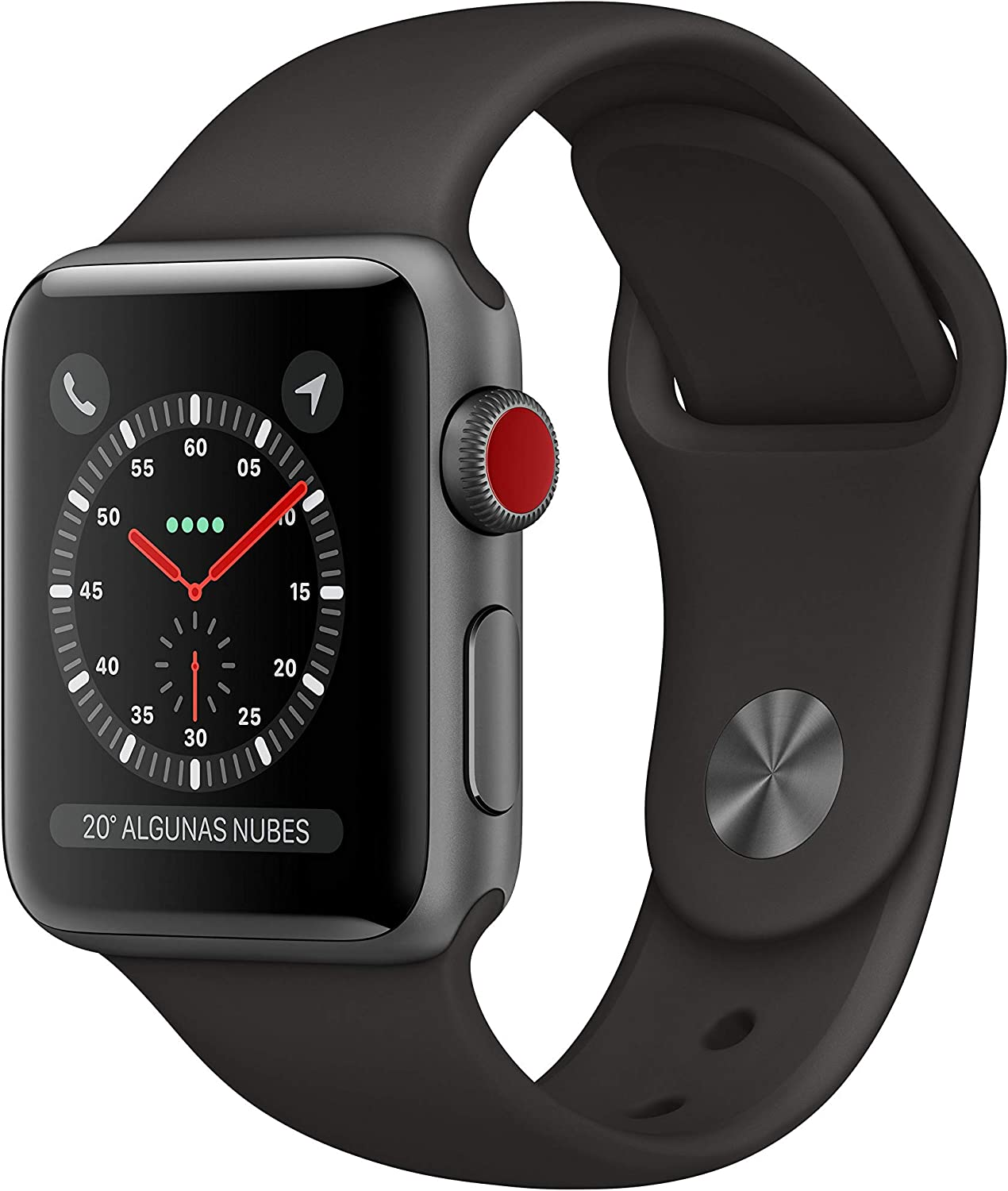 Apple Watch Series 3 (GPS + Cellular) con caja de 38 mm de aluminio en gris espacial y correa deportiva - Negra
