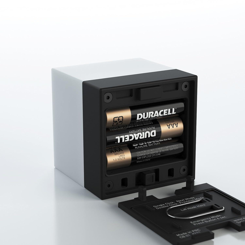 mit 3xAAA Duracell enevu CUBE W/ürfel Taschenlampe Spritzwassergesch/ützt Weiss /& Farbwechsel Licht