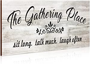 Jetec The Gathering Place Wooden Sign Rustic Farmhouse Home Decor Sign Kitchen Wall Sign Wooden Family Sign Wall Art Decor Sign for Dining Room Home Decor (White)
