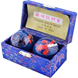 "Feng Shui Chinese Health Balls (Blue with Phoenix and Dragon) 3.8cm/1.5"" Fengshuisale Red String Bracelet F1117"