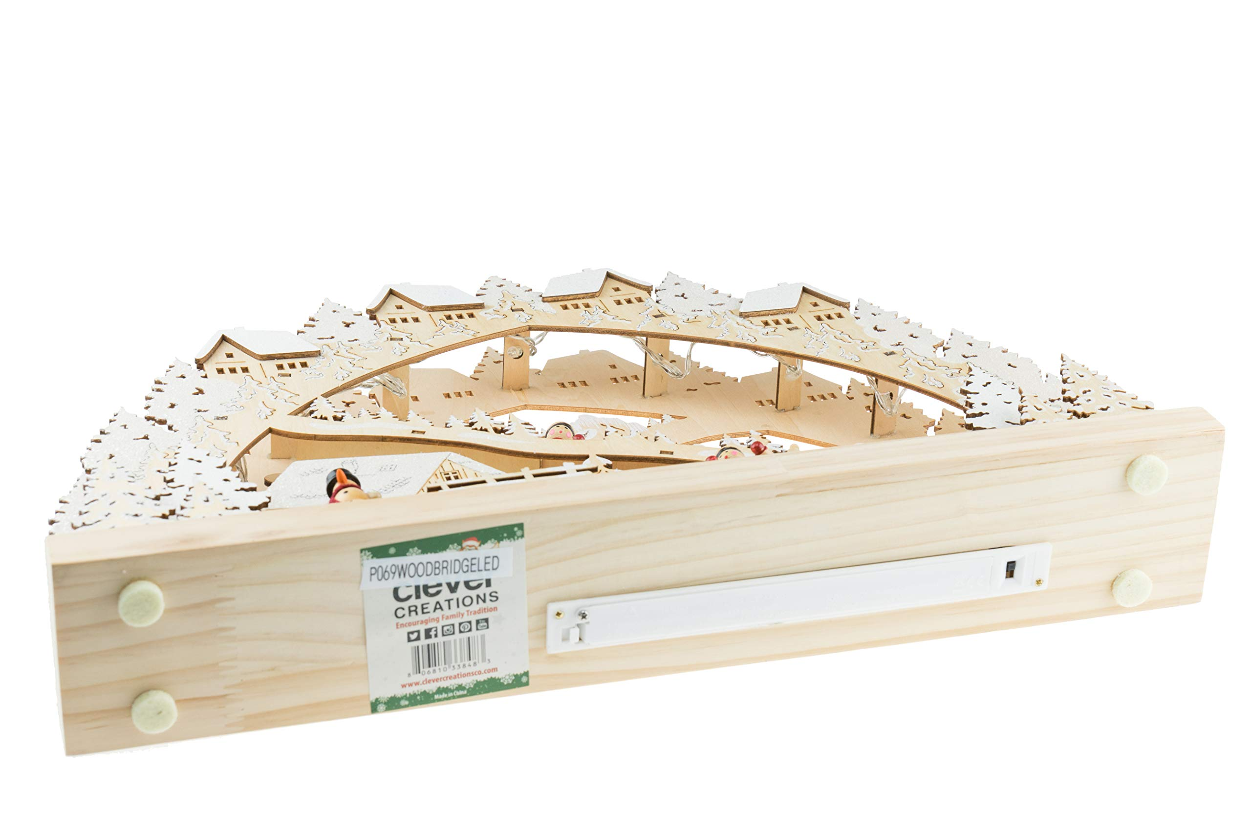 Clever Creations Traditional Wooden Table Top Christmas Decorations | Unique Skiing Hill with Battery Operated Christmas Lights | Festive Christmas Decor | Village, Skier Kids, Snowman, and Houses by Clever Creations (Image #2)