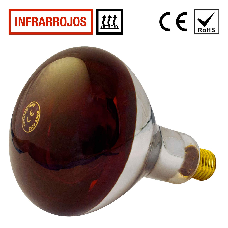 Lampara Infrarrojos Bombilla 250W (E27) - para Estufa de Infrarrojos - Emite Calor - Alta Eficiencia