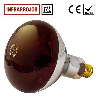 Lampara Infrarrojos Bombilla 250W (E27) - para Estufa de Infrarrojos - Emite Calor -