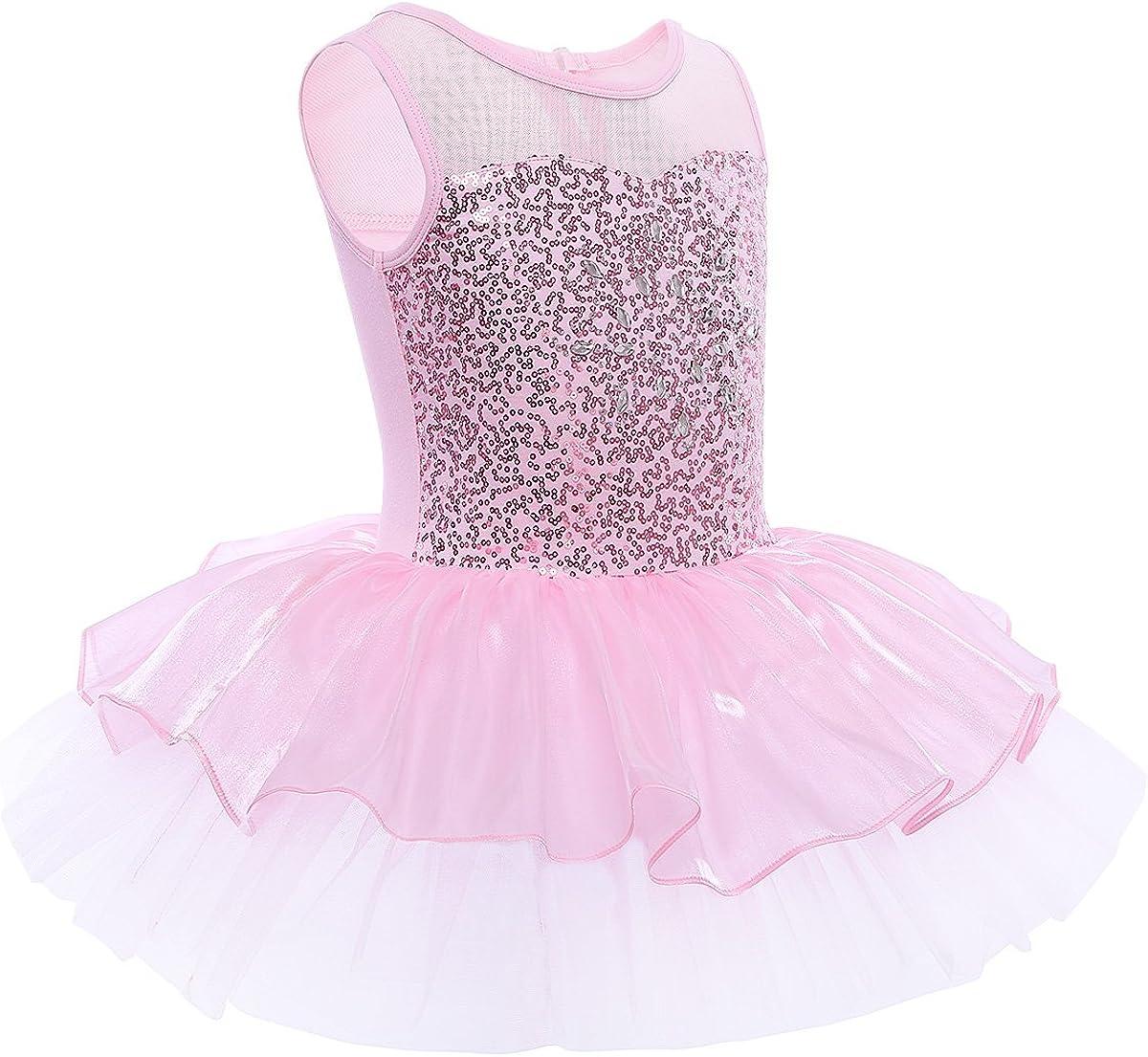 IEFIEL Maillot Tut/ú Vestido de Ballet Danza Fiesta Actuaci/ón Princesa Vestido con Lentejuela Brillante con Braga Interior para Ni/ña 3-10 A/ños