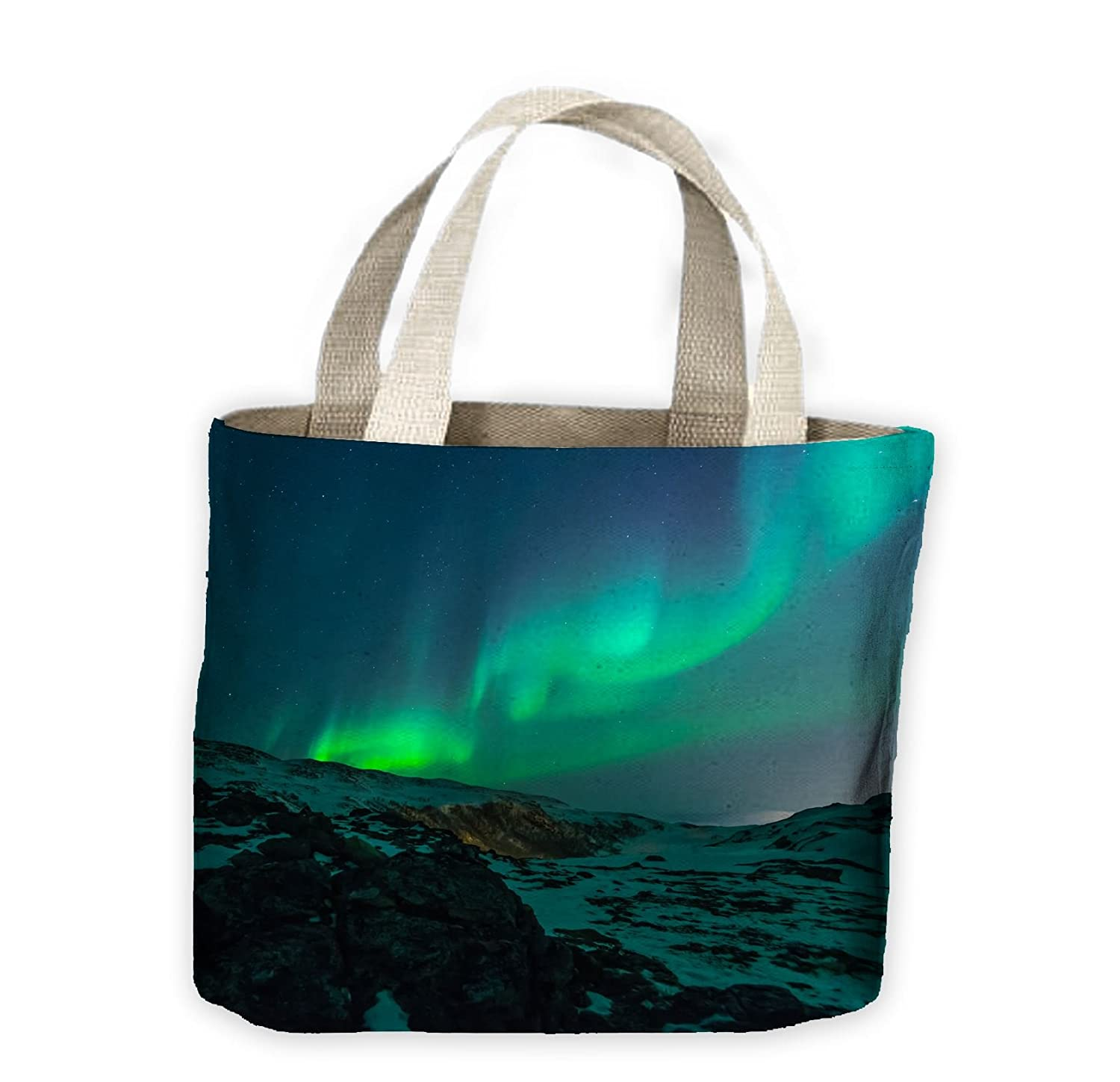 Northern Lights Mountains Tote Shopping Bag For Life Tribal T-Shirts