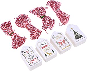 100pcs Christmas Gift Tags Paper Tags Hang Tags with Jute Twine Hanging Gift Wrap Tags Cards Label Xmas Tree Decor