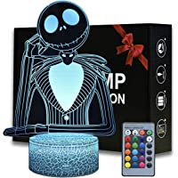 Halloween Town Pumpkin King Jack Skellington 3D Illusion Night Light, Anime Desk Lamp with Remote Control for Kids…