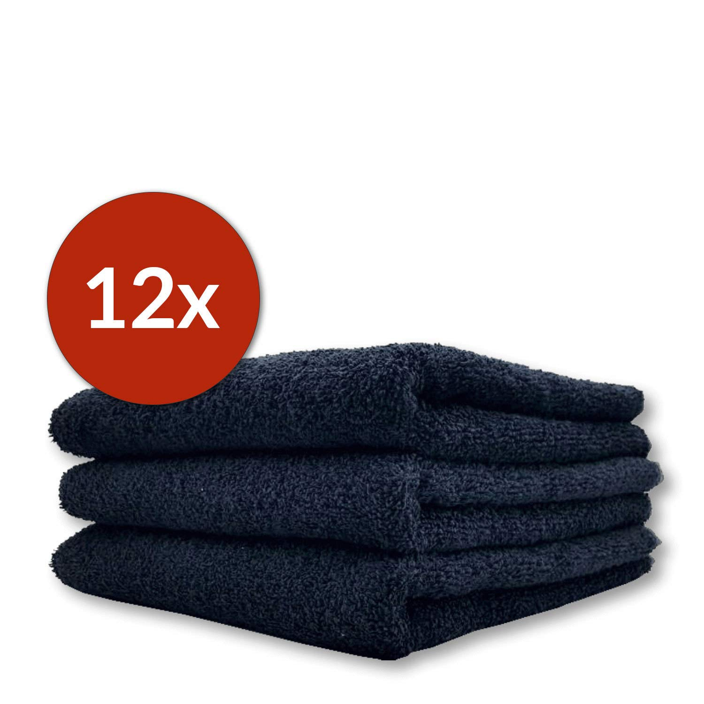 12x Classic Baumwolle Friseur Handtuch 50 x 90 cm schwarz