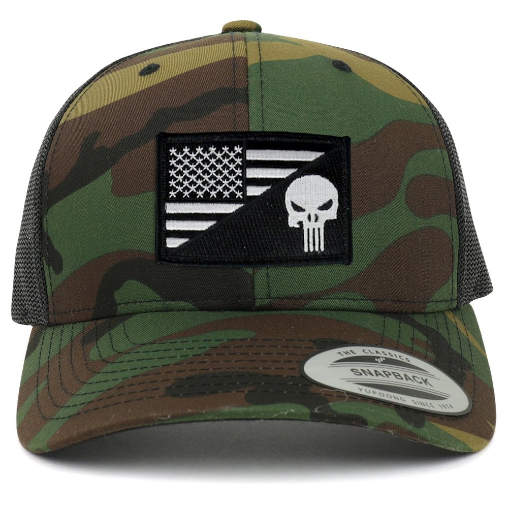Punisher Black White American Flag Embroidered Patch Mesh Back Trucker Cap  - BLACK at Amazon Men s Clothing store  5855438998a5