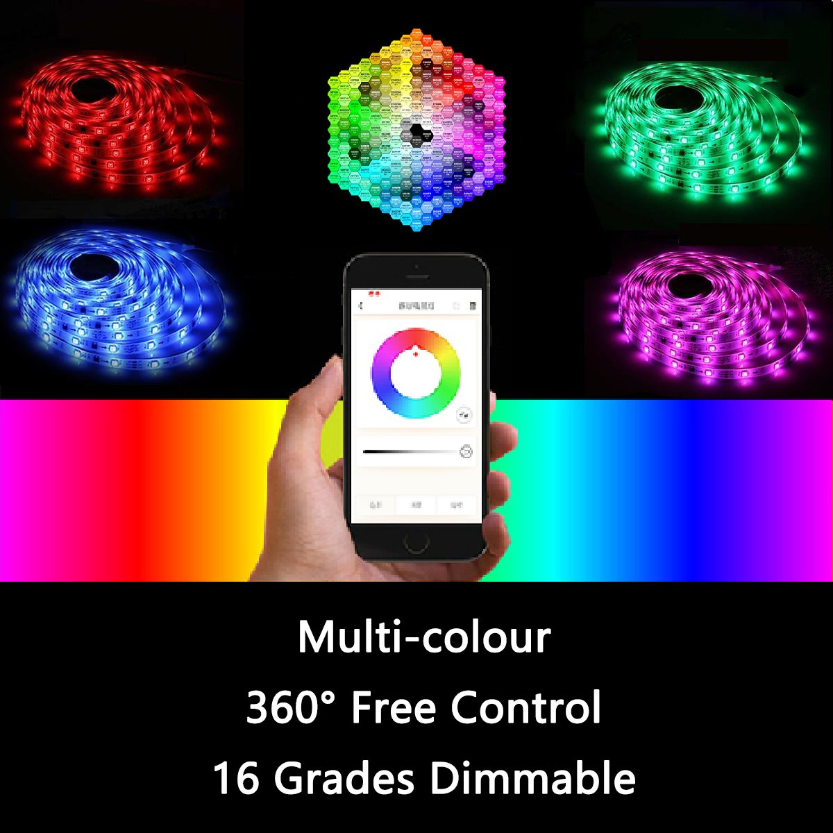 Led strip lights 16.4ft/5mNon-Waterproof LED Lights Kit5050 RGB Rope Lights With Bluetooth Smartphone APP Controller & 12V 3A Power Supply for ios and Android System by TOPMAX (Image #2)