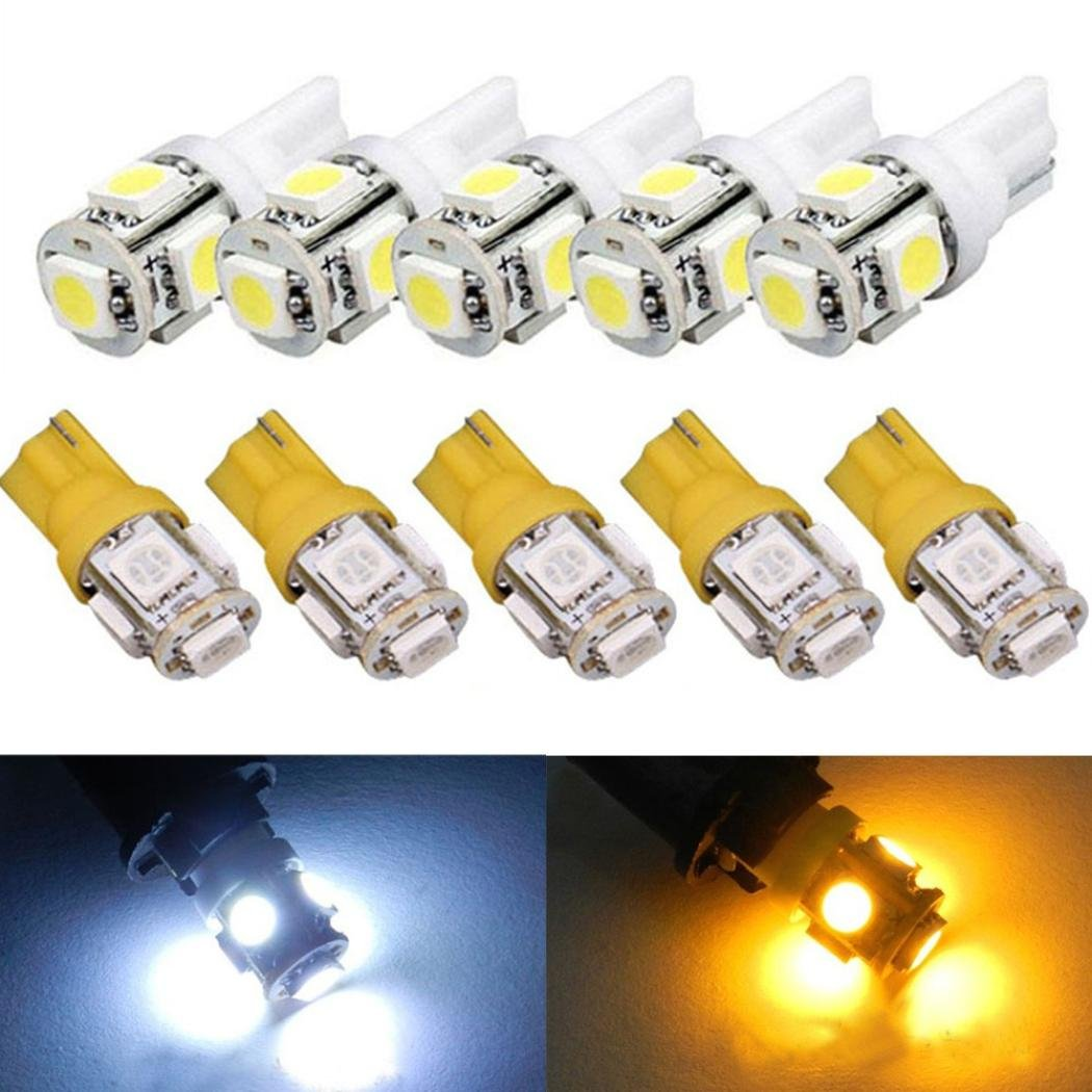 GlumesLED Extremely Bright 5PCS T10 5-SMD 5050 Xenon 3W LED Light Bulbs for Car Interior Dome Map Door Courtesy License Plate Lights Compact Wedge192 168 194 W5W 2825 158 (Cool White)
