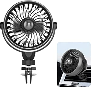 Car Fan, USB Powered with Enhanced Clamp, Small Air Conditioner Car Charger Cooling Fan, 4 Speeds, 360 Degree Rotation with Aroma Function, Personal Mini Fan for Driver Passenger Pet Baby