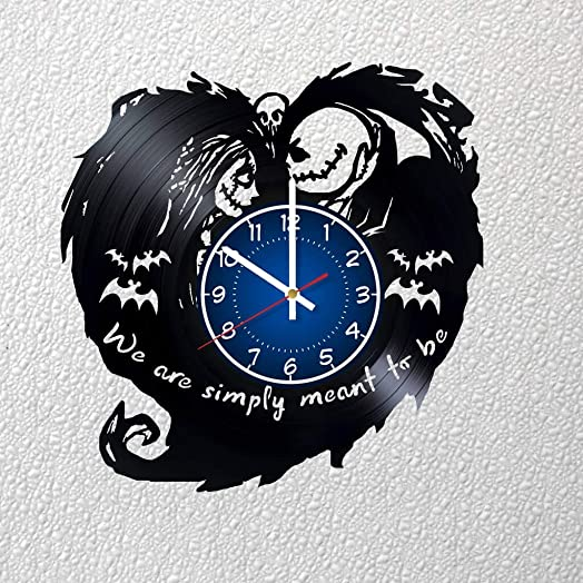 Nightmare Before Christmas Jack and Sally Love Art 12 inches 30 cm Vinyl Record Wall Clock Fan Gift Nightmare Before Christmas Clock Children s Room Decor Idea Home Art Party Christmas Art