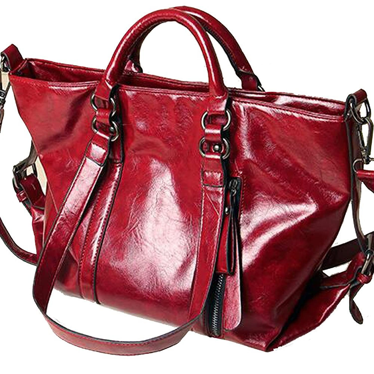 SNUG STAR Retro Style Wax oil Cowhide Shoulder Bag Cross Body Bag Satchel Tote Handbag for Women