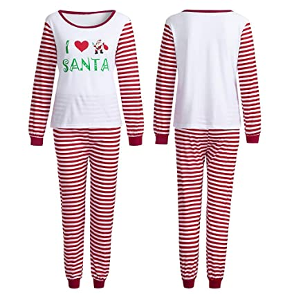 31151227a08 Amazon.com  New Zlolia Women s Family PJS Matching Christmas Pajamas  Striped Pants Blouse +Santa Set  Sports   Outdoors
