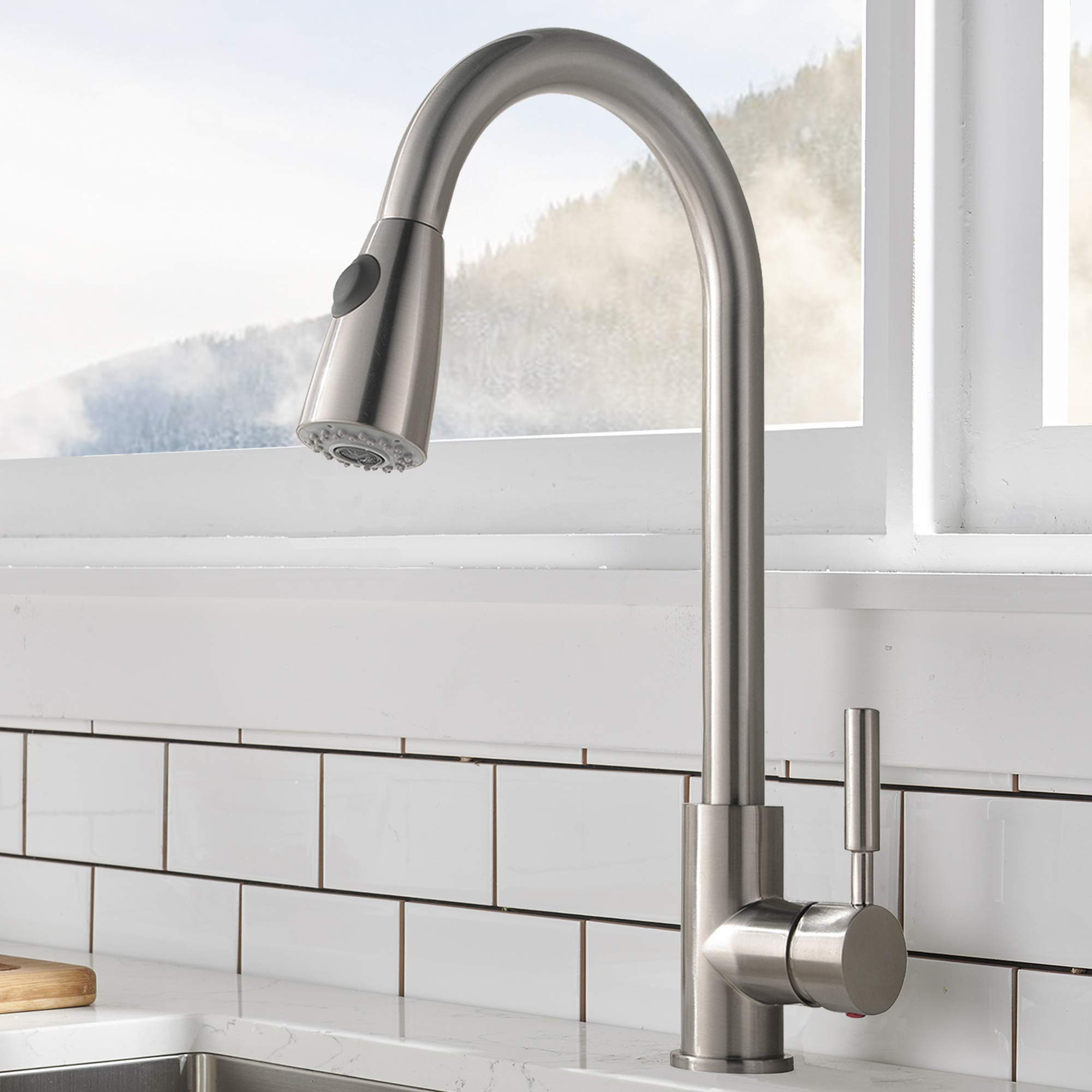 Comllen Commercial Single Handle High Arc Brushed Nickel Pull out Kitchen Faucet,Single Level Stainless Steel Kitchen Sink Faucet with Pull Down Sprayer Without Deck Plate by Comllen