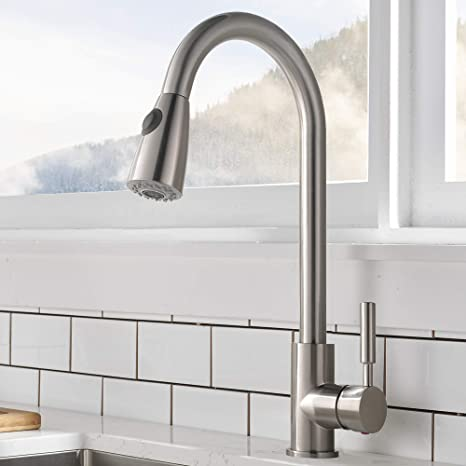 Comllen Commercial Single Handle High Arc Brushed Nickel Pull Out Kitchen Faucet Single Level Stainless Steel Kitchen Sink Faucet With Pull Down