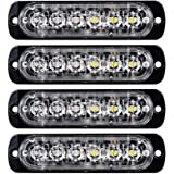 XT AUTO 4pcs Universal 12V-24V Super Bright Red/White 18W 6-LED Warning Emergency Construction Surface Mount Beacon Flash Caution Strobe Light Bar