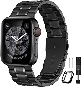 Bestig Compatible for Apple Watch Band 38mm 40mm 42mm 44mm Premium Solid Stainless Steel Metal Replacement Adjustable Sport Wristband Bracelet Strap for iWatch Series 6 SE 5 4 3 2 1(Matt Black/Polished Black)