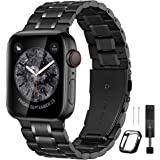 Bestig Compatible for Apple Watch Band 38mm 40mm 42mm 44mm Premium Solid Stainless Steel Metal Replacement Adjustable Sport W