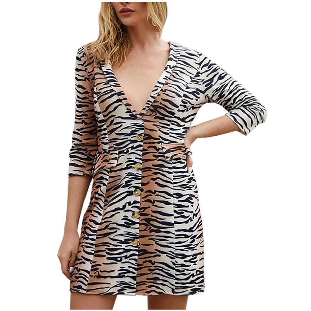 SEXYTOP Women V Neck Tiger Printed Short T-Shirt Dress Casual Babydoll Dresses Half Sleeve Button Down Loose Tunic Tops Brown by SEXYTOP