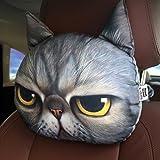 ZEALUX Comfortable Cute Doge Cat 3D Lifelike Printing Cotton Car Headrest Funny Headrest (Anger Cat)