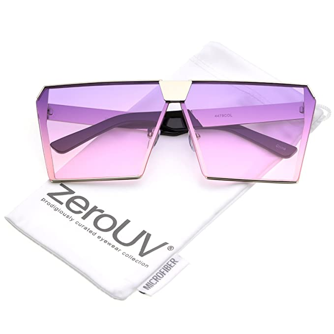 zeroUV - Modern Oversize Semi Rimless Gradient Color Flat Lens Square Sunglasses 69mm (Gold/Pink Grey)