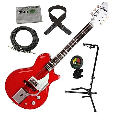 Supro 1572 VPR Belmont Vibrato para guitarra eléctrica en color rojo w/gamuza de geartree