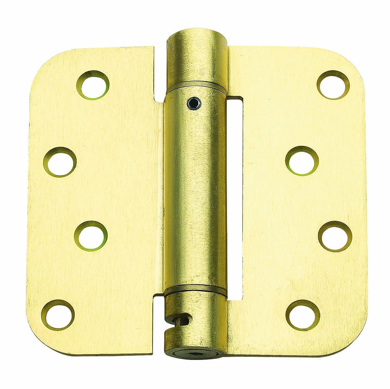 Global Door Controls 4 in. x 4 in. Satin Brass Steel Spring Hinge with 5/8 in. Radius - Set of 3 - Door Hinges - Amazon.com