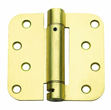 Global Door Controls 4 in. x 4 in. Satin Brass Steel Spring Hinge ...