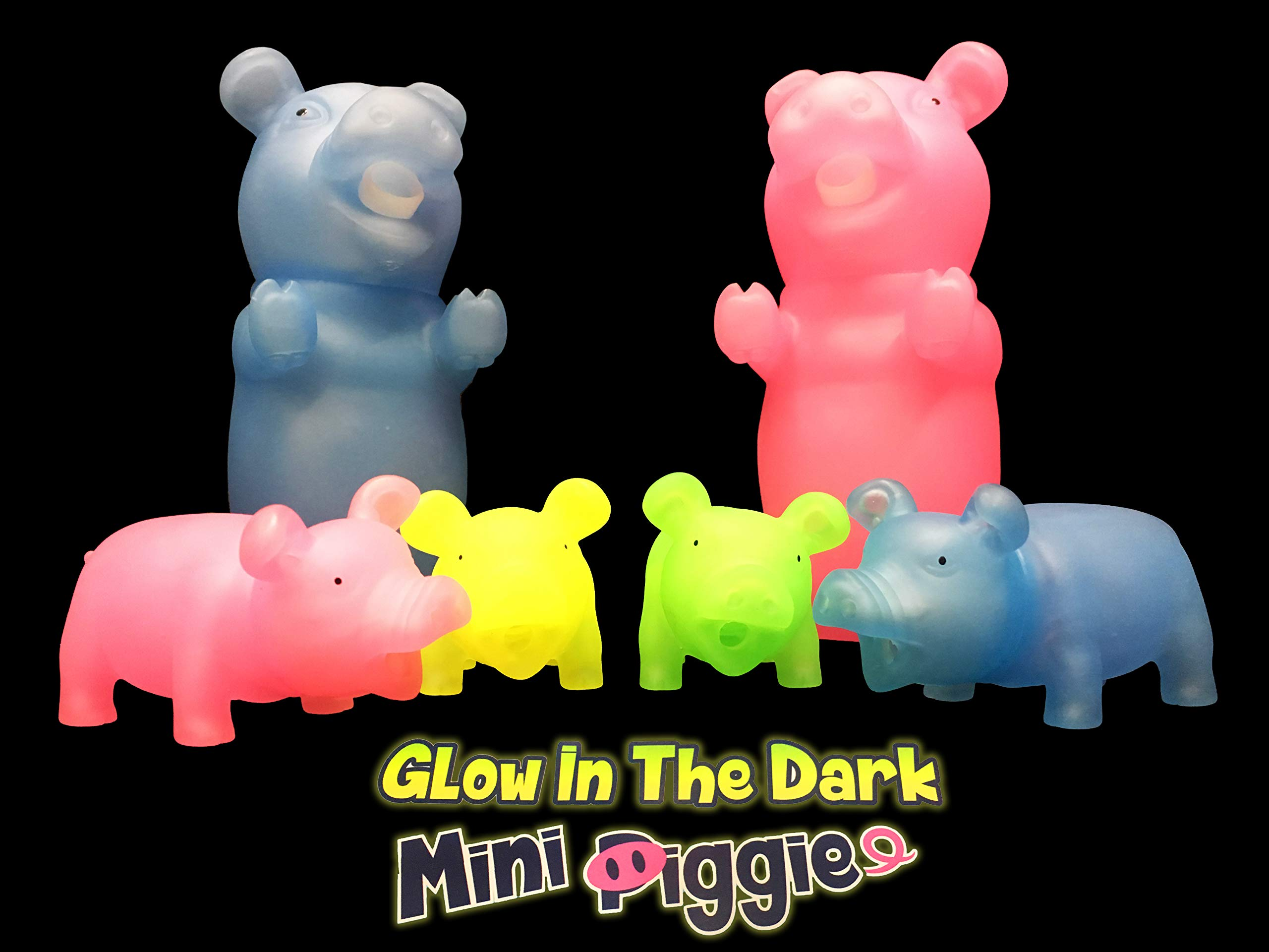 Animolds Wholesale Miniature Toys for Children Glow in The Dark Mini Piggie Great for Kids Boys and Girls Bulk Prices Available (24 Pack)