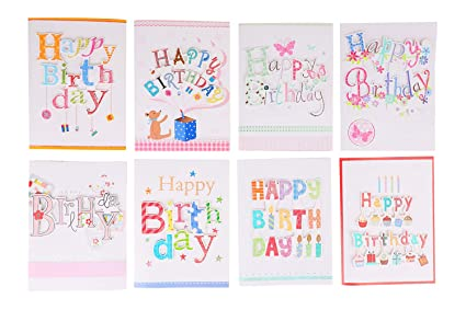 Amazon Com 8 Assorted Happy Birthday Gift Card 3 Folded