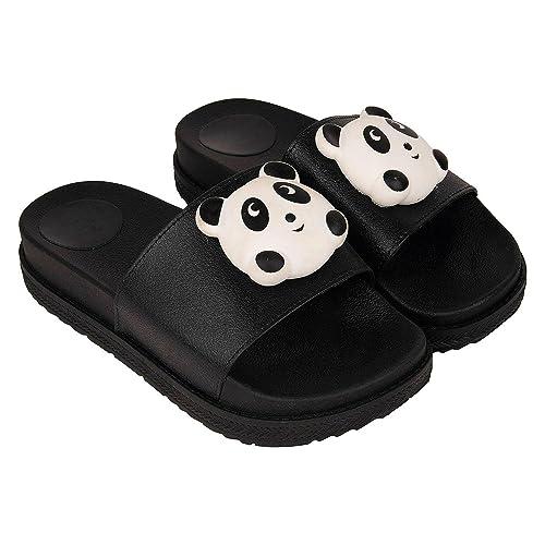 acc794136 Warlock Women s Black Faux Fur Panda Fancy Slippers 8 UK India (40 EU)  Buy  Online at Low Prices in India - Amazon.in