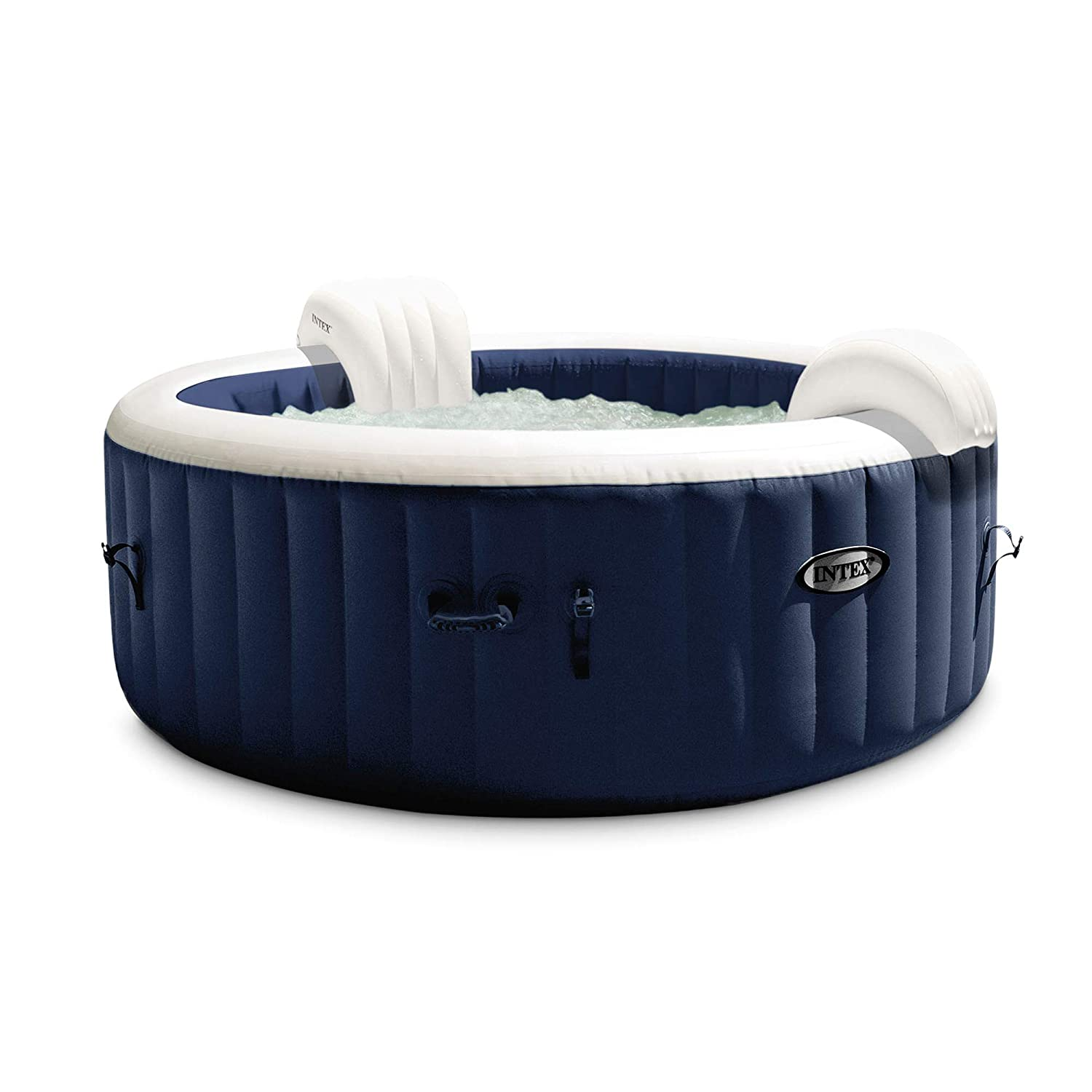 Intex PureSpa Plus Round 6 Person Portable Inflatable Hot Tub Spa 85-Inch x 25-Inch with 170 Bubble Jets and Built in Heater Pump, Navy | 28431E