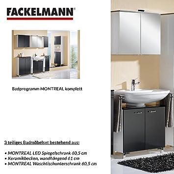 Fackelmann Badmobel Set Montreal 3 Tlg 60 Cm Grafitgrau Mit