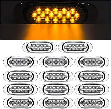 "10x 6.5/"" Clear//Amber Peterbilt Type Marker Clearance Sleeper Panel Lights 16 LED"